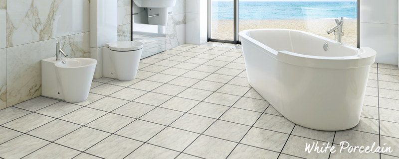 white porcelain bathroom flooring